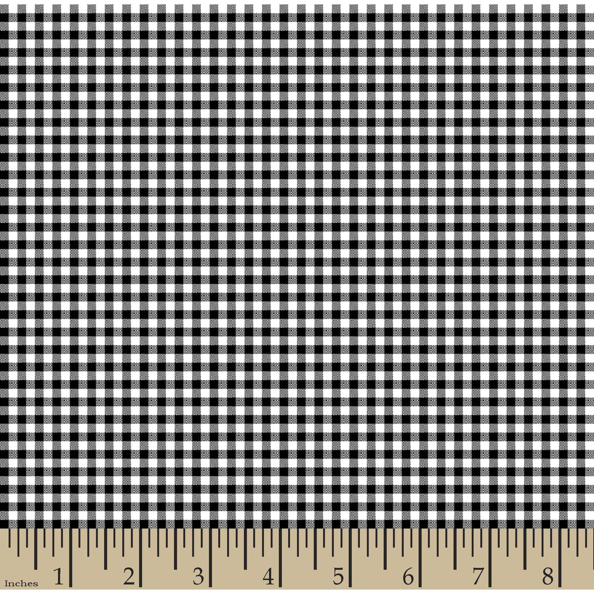 "Woven Gingham Check 1/8"" 65/35 Poly/Cotton Fabric by the Yard, Black, 44/45"" Width"