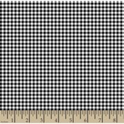 """Woven Gingham Check 1/8"""" 65/35 Poly/Cotton Fabric by the Yard, Black, 44/45"""" Width"""