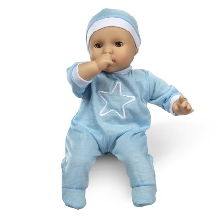 "Melissa & Doug Mine to Love Jordan 12"" Light Skin-Tone Boy Baby Doll with Romper, Cap, Pacifier"