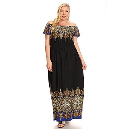 Fourever Funky - Mixed Tapestry Print Off the Shoulder Plus Size ...