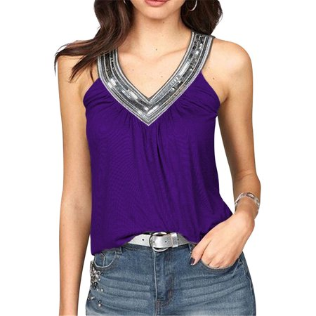 Women Casual V Neck Sleeveless Sequin Pleated Shirts Camisole