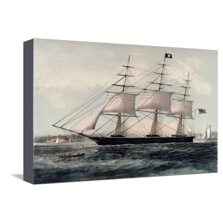 Clipper Ship Nightingale 1854 Stretched Canvas Print Wall Art By James Edward Buttersworth (James Buttersworth Ships)