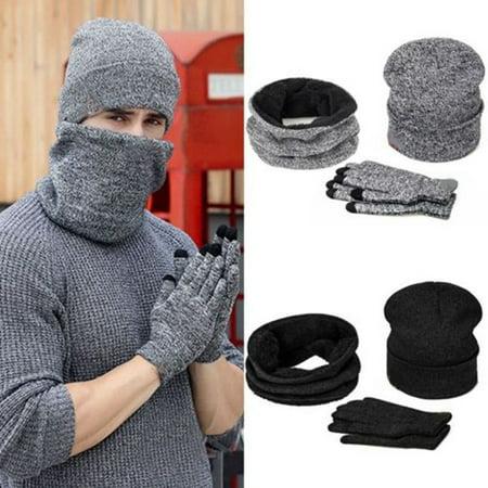 Mens Womens Beanie Hat + Gloves + Scarf Neck Warmer Winter Thermal Ski Caps