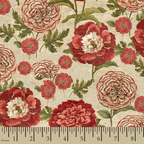 "Springs Creative Cotton 44""/45"" French Rooster Flower Stems Fabric, per Yard"