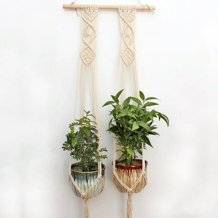 2PCS Macrame Plant Hanger Indoor Outdoor Hand Knit Hanging Planter Wood Stick Basket Wall Art