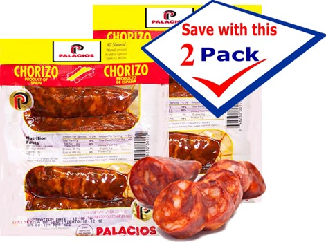 Chorizos Palacios imported from Spain. 6.5 oz. 4 pieces. Pack of 2 by