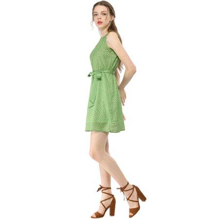 Allegra K Mini-Robe à Manches Courtes et à Pois pour Femmes Vert M (EU 40) - image 3 de 6