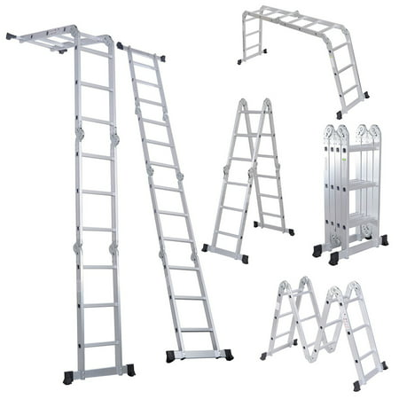 Ladder Fiber - Cstway EN131 330LB Multi Purpose Step Platform Aluminum Folding Scaffold Ladder (12 1/2 ft.)