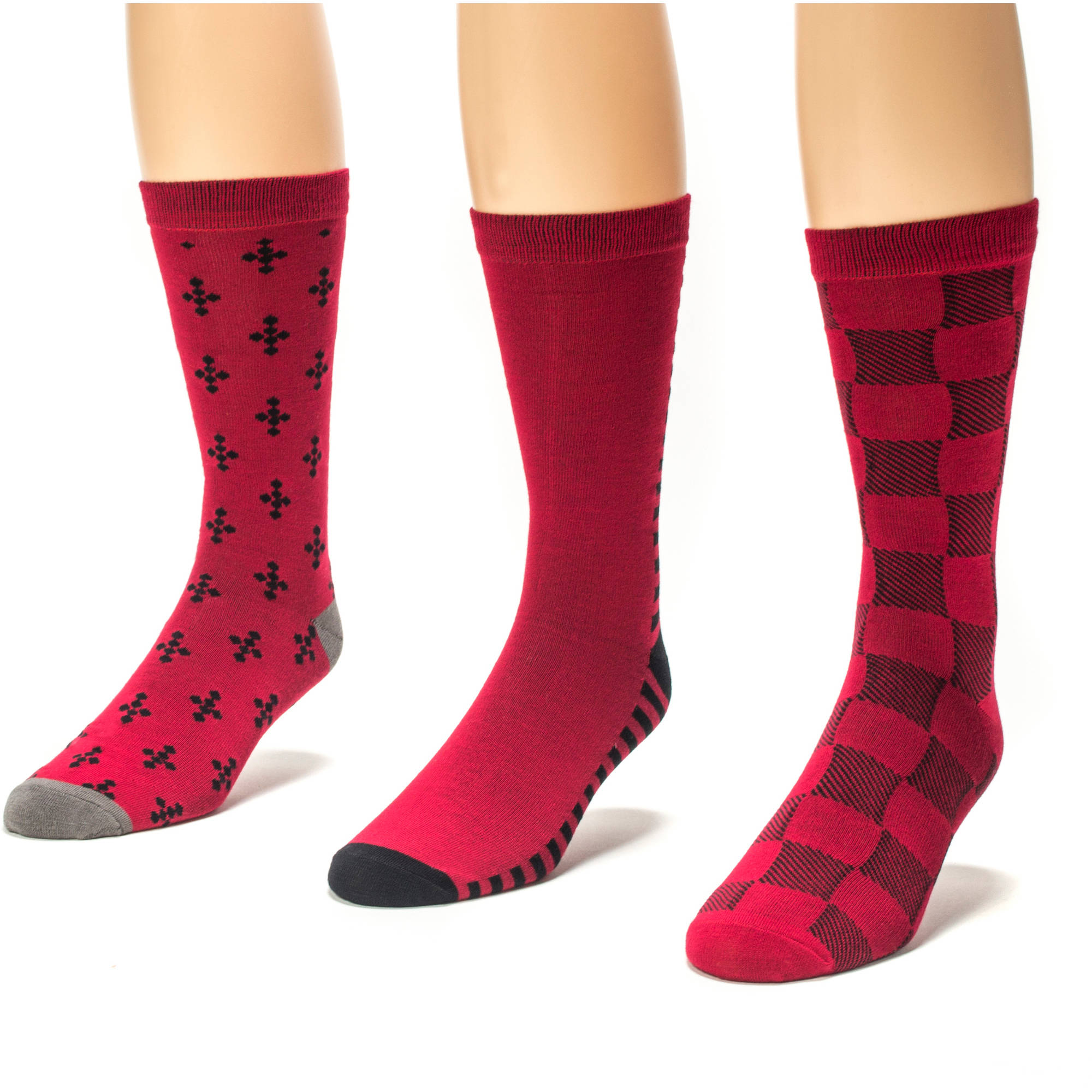 MUK LUKS Men's 3 Pair Crew Sock Pack
