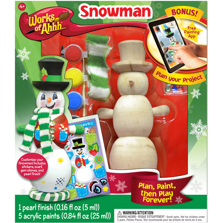 Works of Ahhh... Wood Painting Kit, Winter Snowman