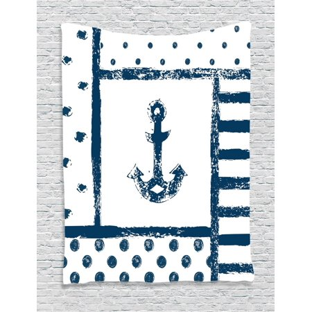 Anchor Decor Wall Hanging Tapestry, Grunge Murk Boat Anchor Silhouette With Polka And Stripe Retro Patterns Navy Theme, Bedroom Living Room Dorm Accessories, By Ambesonne