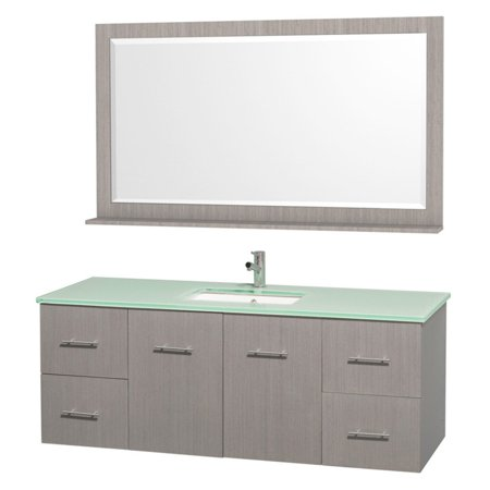 "Wyndham Collection Centra 60"" Single Bathroom Vanity in Gray Oak, Green Glass Countertop, Square Porcelain Undermount Sink and 58"" Mirror"