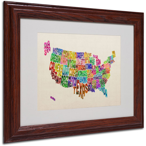 "Trademark Fine Art ""USA States Text Map"" Matted Framed Art by Michael Tompsett"