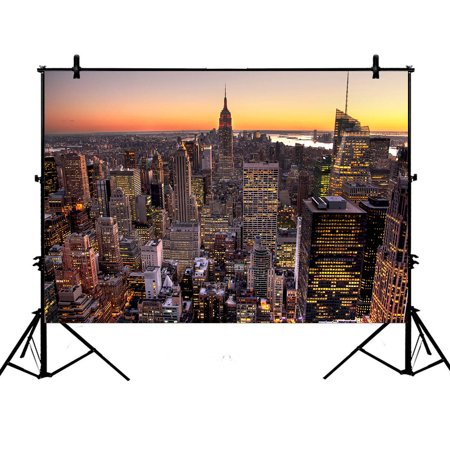 YKCG 7x5ft Aerial View of Manhattan Skyline at Sunset New York Cityscape Photography Backdrops Polyester Photography Props Studio Photo Booth Props - Cityscape Backdrop