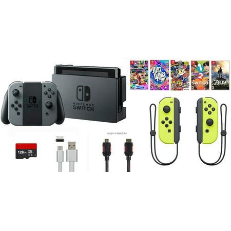 Nintendo Switch Bundle (11 items): 32GB Console Gray Joy-con, 128GB