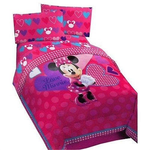 Disney Minnie Mouse Hearts Bow-tique Twin / Full Size Bed Comforter