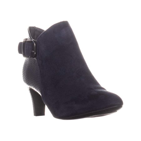 Alfani A35 Valmontt Zip Up Heeled Ankle Boots, Ink Blue