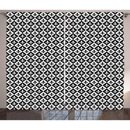Fleur De Lis Curtains 2 Panels Set Checkerboard Pattern Rectangles