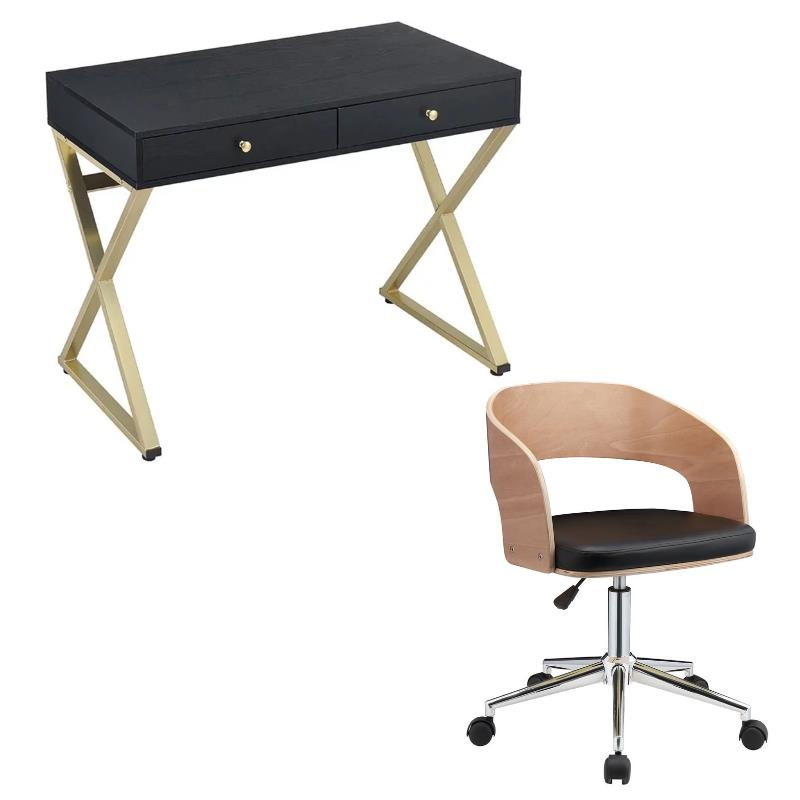 Coleen 2 Piece Writing Desk and Swivel Adjustable Office Chair Set in Black