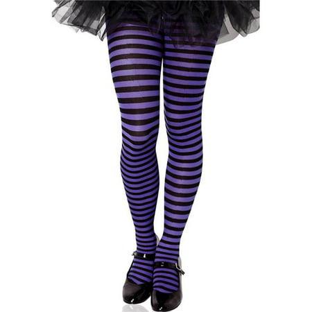 Music Legs 270-BLK-PPL-XL Girls Striped Tights, Black & Purple - Extra - Purple And Black Striped Tights