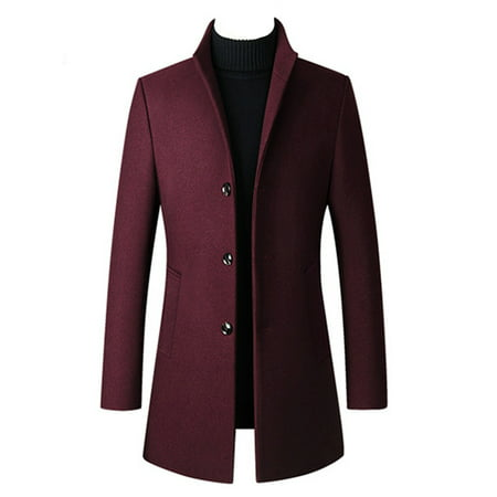 Men's Business Woollen Duffle Trench Coat Winter Thick Windproof Overcoat Jacket Classic Single Breasted Outwear