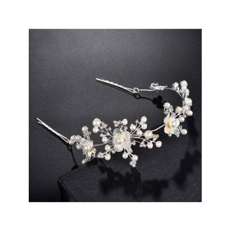 Floral Faux Pearl (Lux Accessories Silver Tone Floral Pearls Faux Rhinestones Bridal Hair Clips )