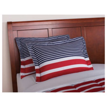 Mainstays 6-8 Piece Red and Blue Stripe Bed in a Bag with Sheets, Twin