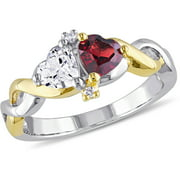 1-1/10 Carat T.G.W. Garnet and Created White Sapphire with Diamond-Accent Two-Tone Sterling Silver Infinity Heart Ring