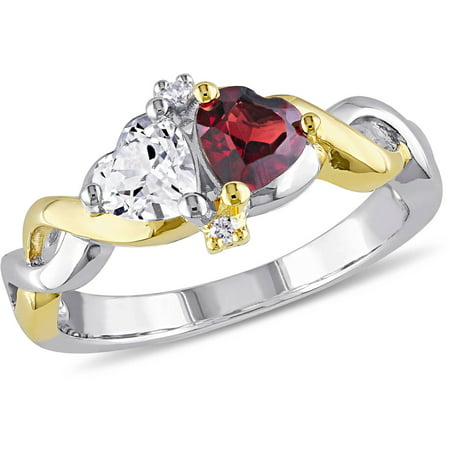 1-1/10 Carat T.G.W. Garnet and Created White Sapphire with Diamond-Accent Two-Tone Sterling Silver Infinity Heart (Garnet Heart Drop)