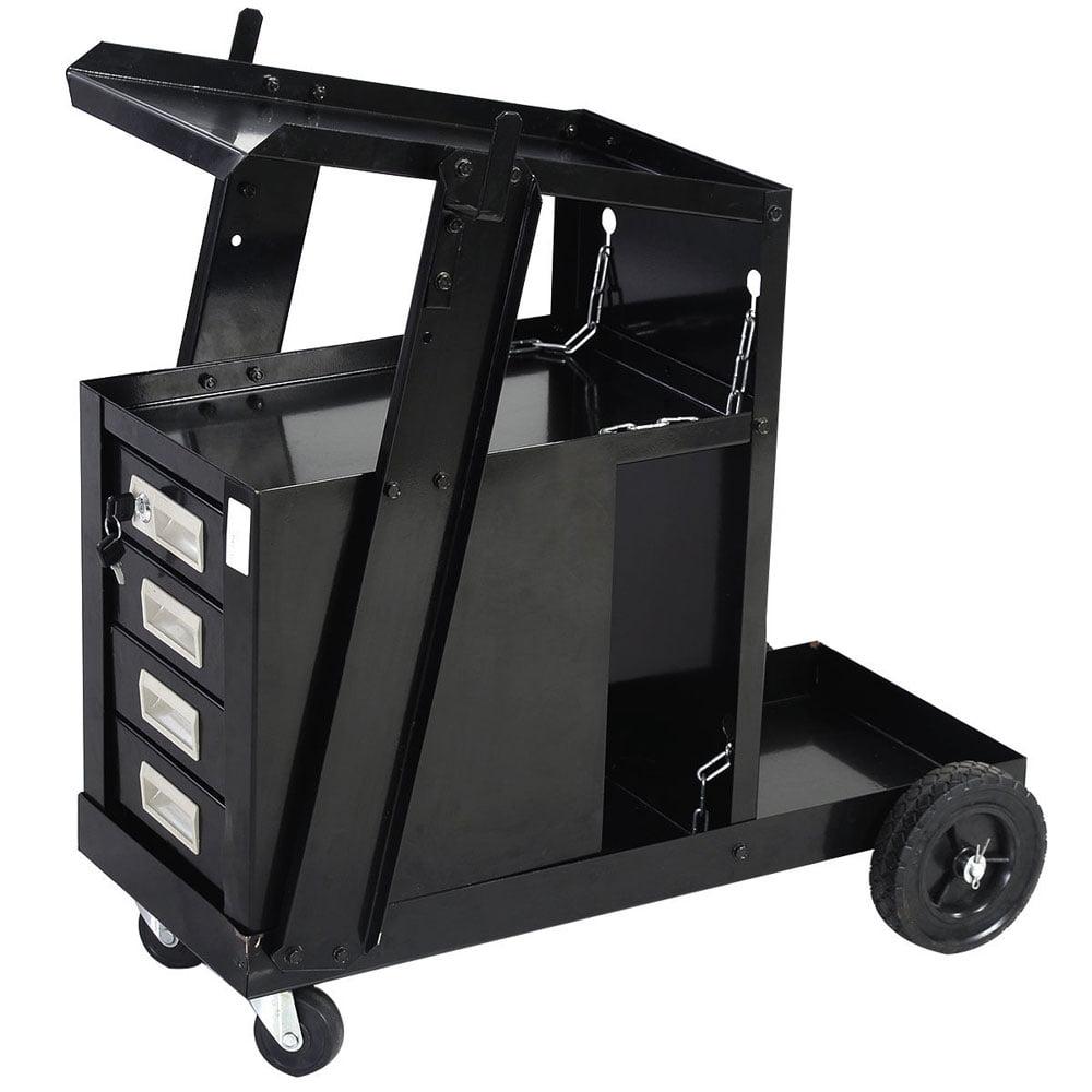 Ktaxon Mig Tig Gas Flux Welding Welder Trolley Tank Carts Machine Equipment with 4 Drawers, Sliding Cabinet