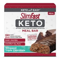 SlimFast Keto Meal Replacement Bar, Whipped Triple Chocolate, 1.48 Oz, 5 Count