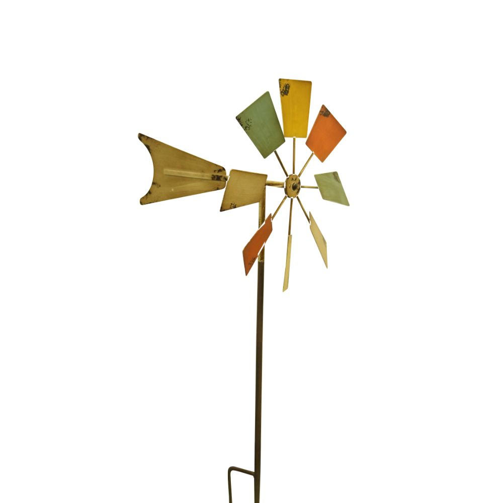 52 Inch Metal Windmill Stake Multi-Color by Benzara