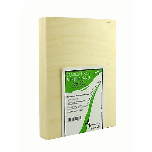 """(Pack of 3)-9""""x12"""" Deep - NATURAL 1 5/8"""" Poplar cradled Birch faced painting panel"""