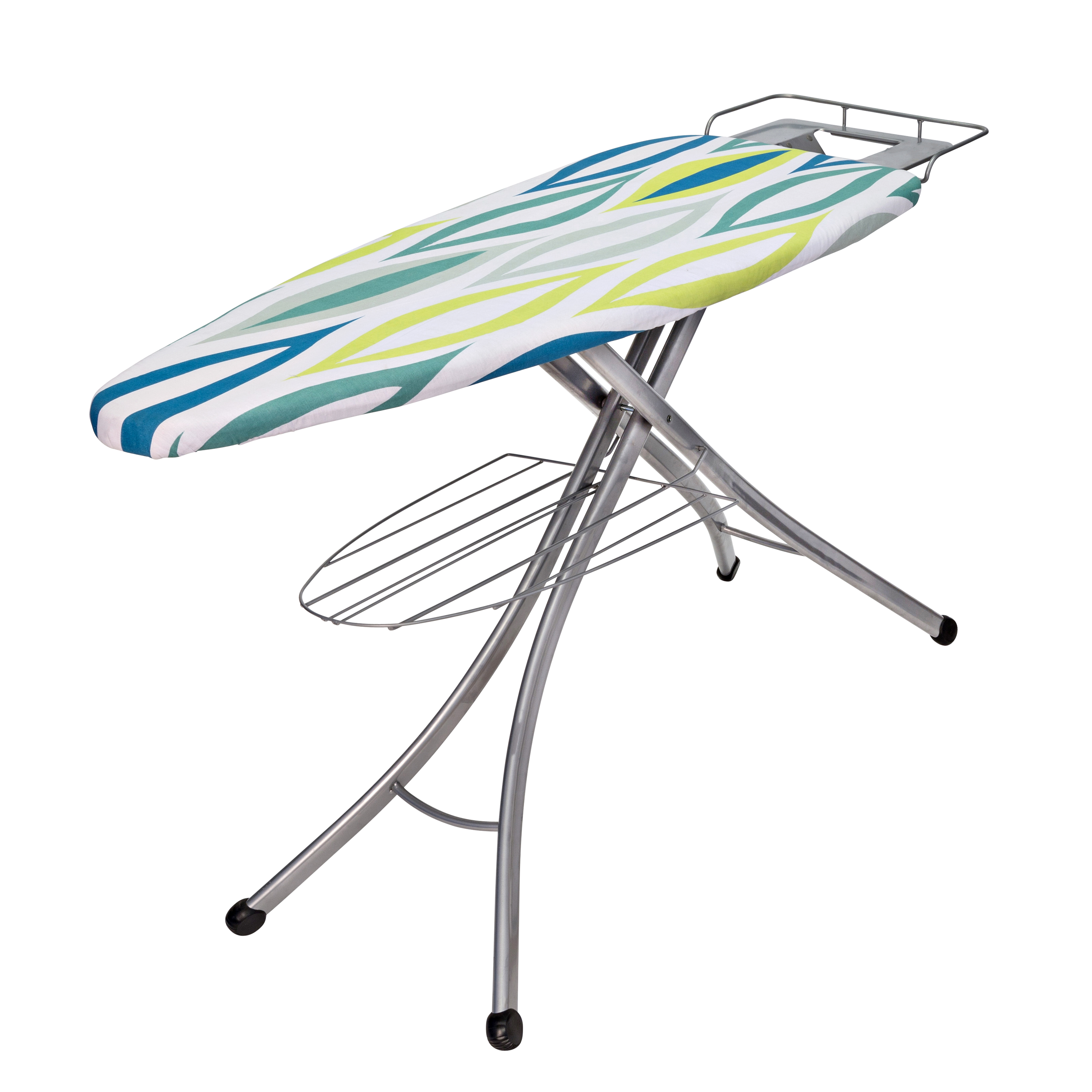 Details About Ironing Board 62x36x18 Iron Rest Builtin Wire Shelf Compact Adjule Height