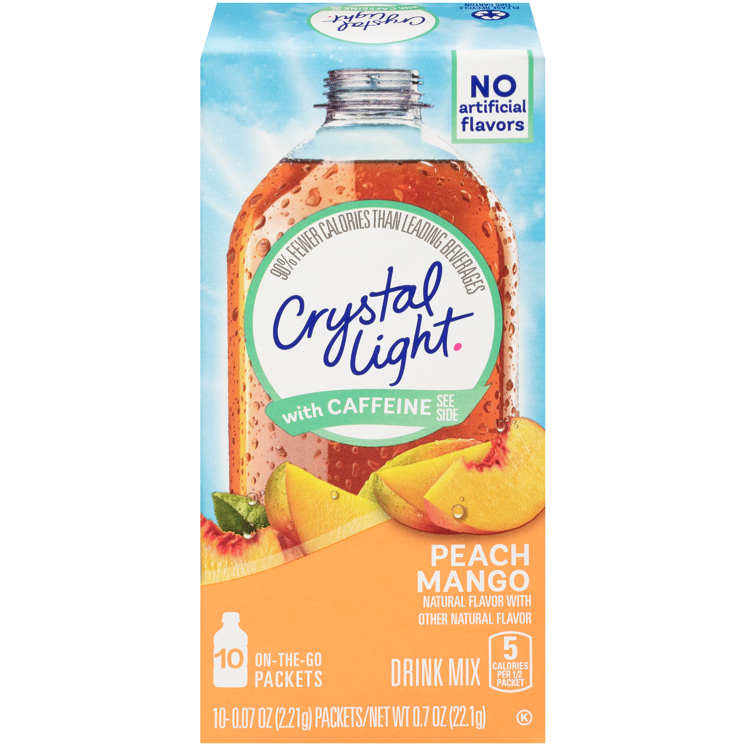 (4 pack) Crystal Light On-The-Go Sugar-Free Powdered Peach Mango Drink Mix, 40 Sticks