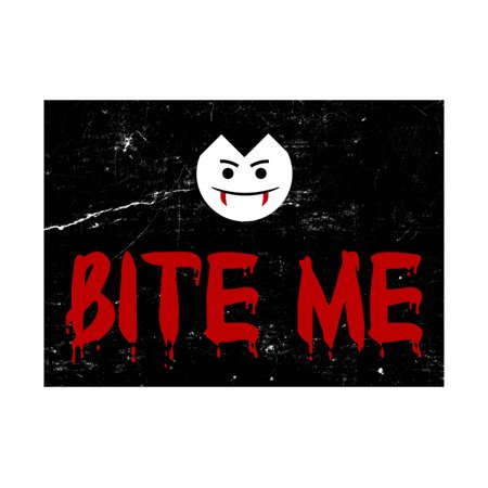 Bite Me Blood Red Print Vampire Face Picture Fun Scary Humor Halloween Seasonal Decoration Sign  Aluminum Metal](Scary Happy Halloween Sign)