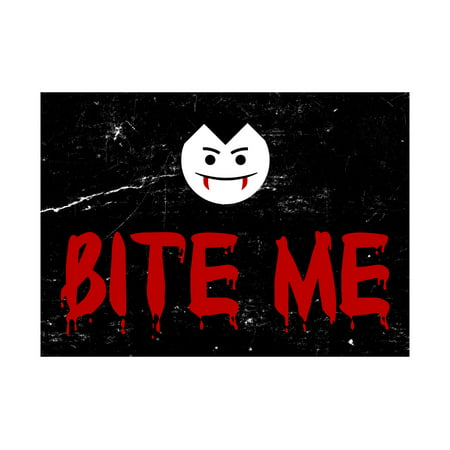 Bite Me Blood Red Print Vampire Face Picture Fun Scary Humor Halloween Seasonal Decoration Sign  Aluminum Metal](Scary Halloween Door Signs)