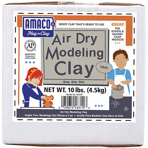 Amaco Air Dry Modeling Clay, 10 lbs, Gray by American & Efird