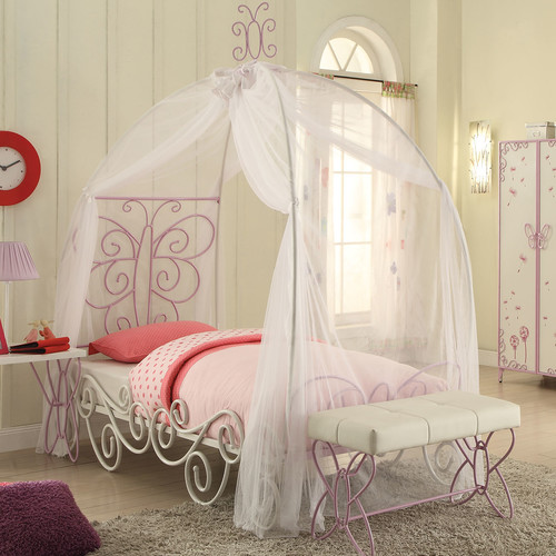 Acme Priya II Twin Canopy Bed, White and Light Purple