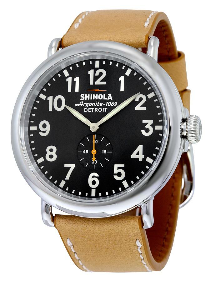 Shinola Runwell Black Dial Tan Leather Mens Watch 11000141