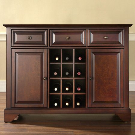 Crosley Furniture LaFayette Buffet Server and Sideboard Cabinet with Wine Storage Large Sideboard Server