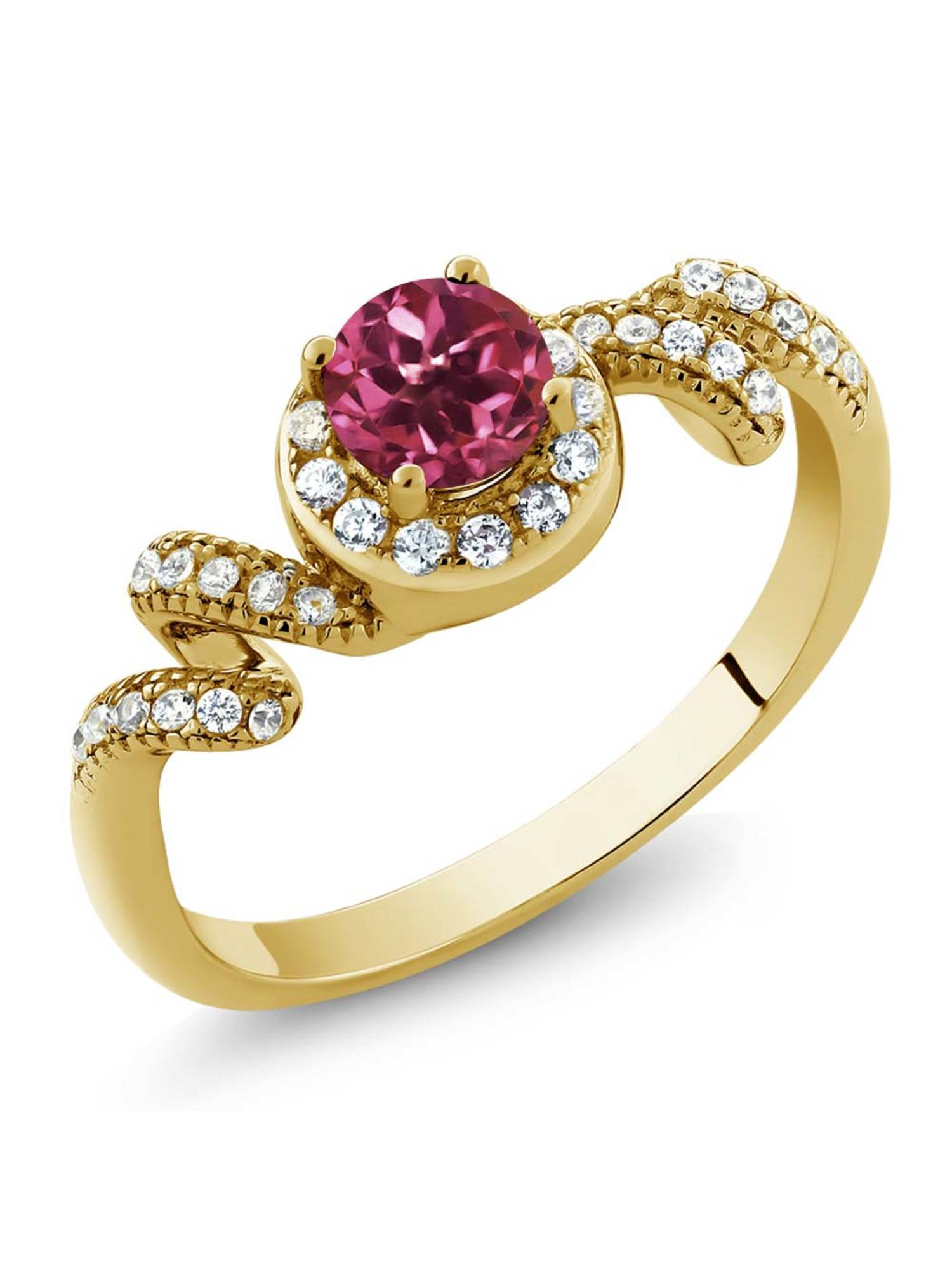 0.89 Ct Round Pink Tourmaline 18K Yellow Gold Plated Silver Ring by