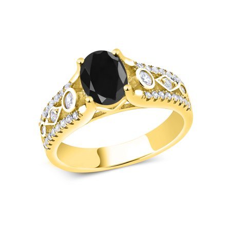 2.22 Ct Oval Black Sapphire 18K Yellow Gold Plated Silver Ring