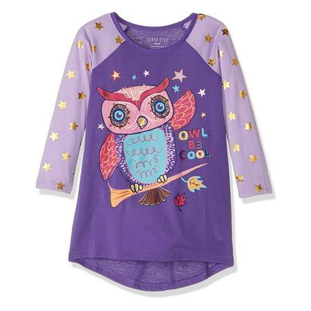 Komar Kids Big Girls' Owl Jersey Nightgown, Lilac Grd, Size: X-Small / 4-5