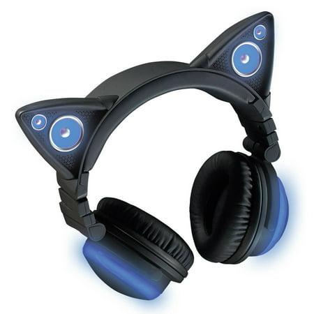 bb23c09e65ff Brookstone Wireless Cat Ear Headphones Bluetooth Headset (Color Changing) -  Walmart.com
