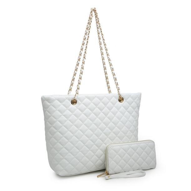 POPPY Women's Classic Quilted Shoulder Bag & Wallet Set Vagan Leather Metal Chain Strap Tote Handbag Purse 2PCS-White