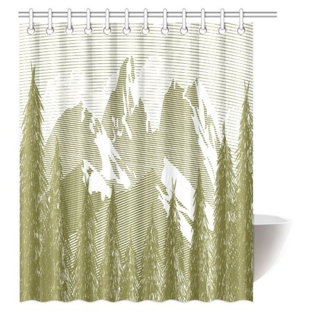 MYPOP Natural Mountain Shower Curtain Spring And Summer Trees Wilderness Woods Artistic Art Print Fabric Bathroom Set With Hooks 60 X 72 Inches