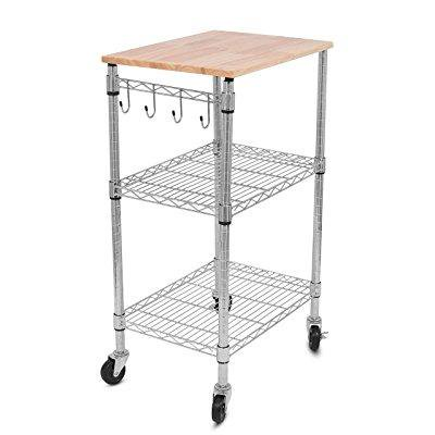Internet's Best 3-Tier Kitchen Cart | Kitchen Island Trolley with Locking Wheels | Removable Cutting Board | 4 Hooks for Cooking Utensils | Extra Rolling Adjustable Shelving