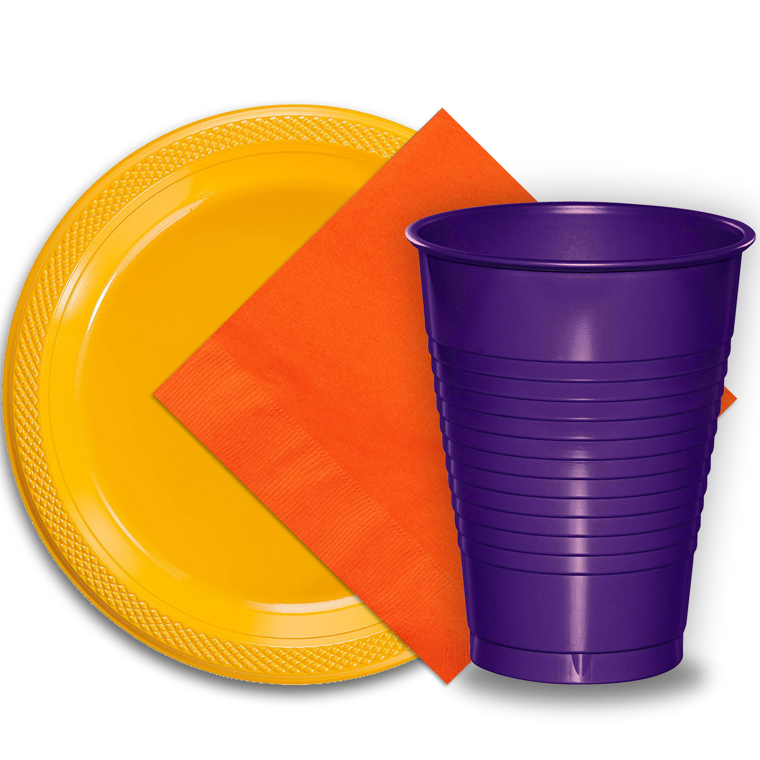 "50 Yellow Plastic Plates (9""), 50 Purple Plastic Cups (12 oz.), and 50 Orange Paper Napkins, Dazzelling Colored Disposable Party Supplies Tableware Set for Fifty Guests."