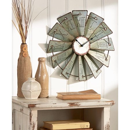 Metal Windmill Wall Clock Rustic Farm House Country Art Living Room Home Decor ()